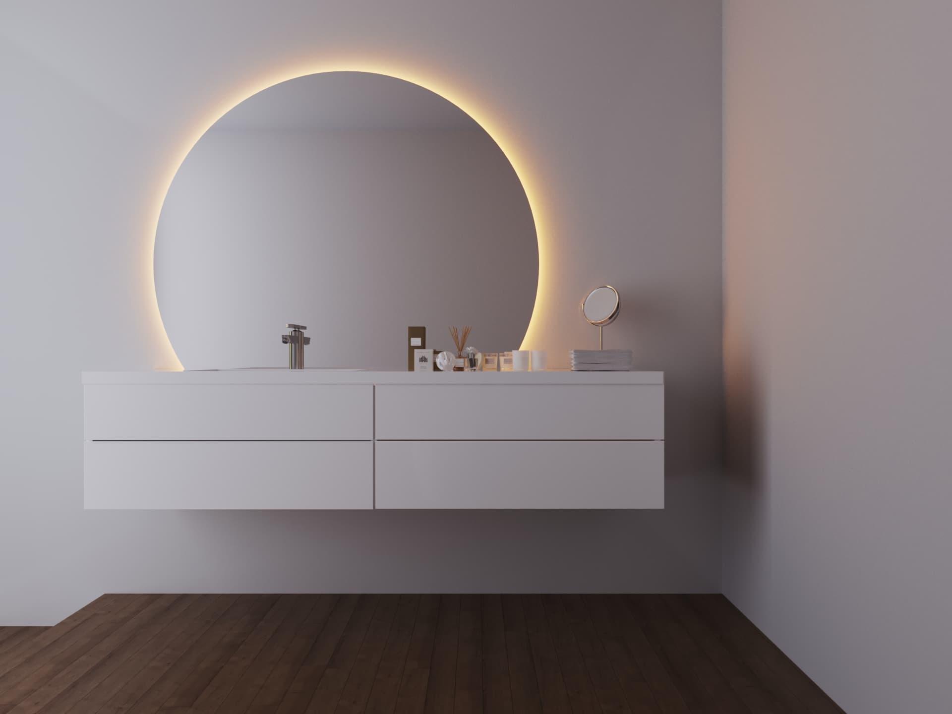 LED Lichtspiegel beleuchtet Badspiegel rund Moonlight