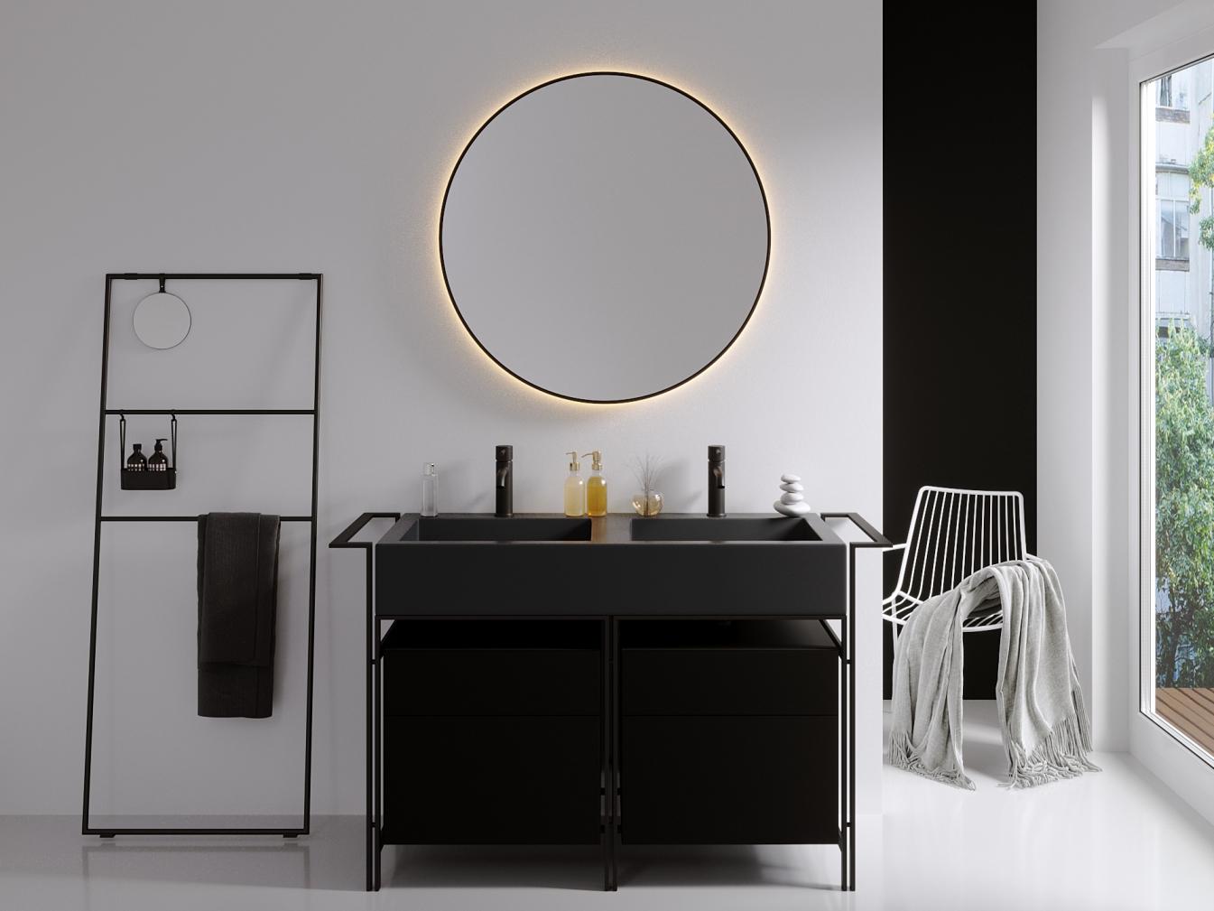 Kreisrunder Spiegel mit Aluminiumrahmen mit LED