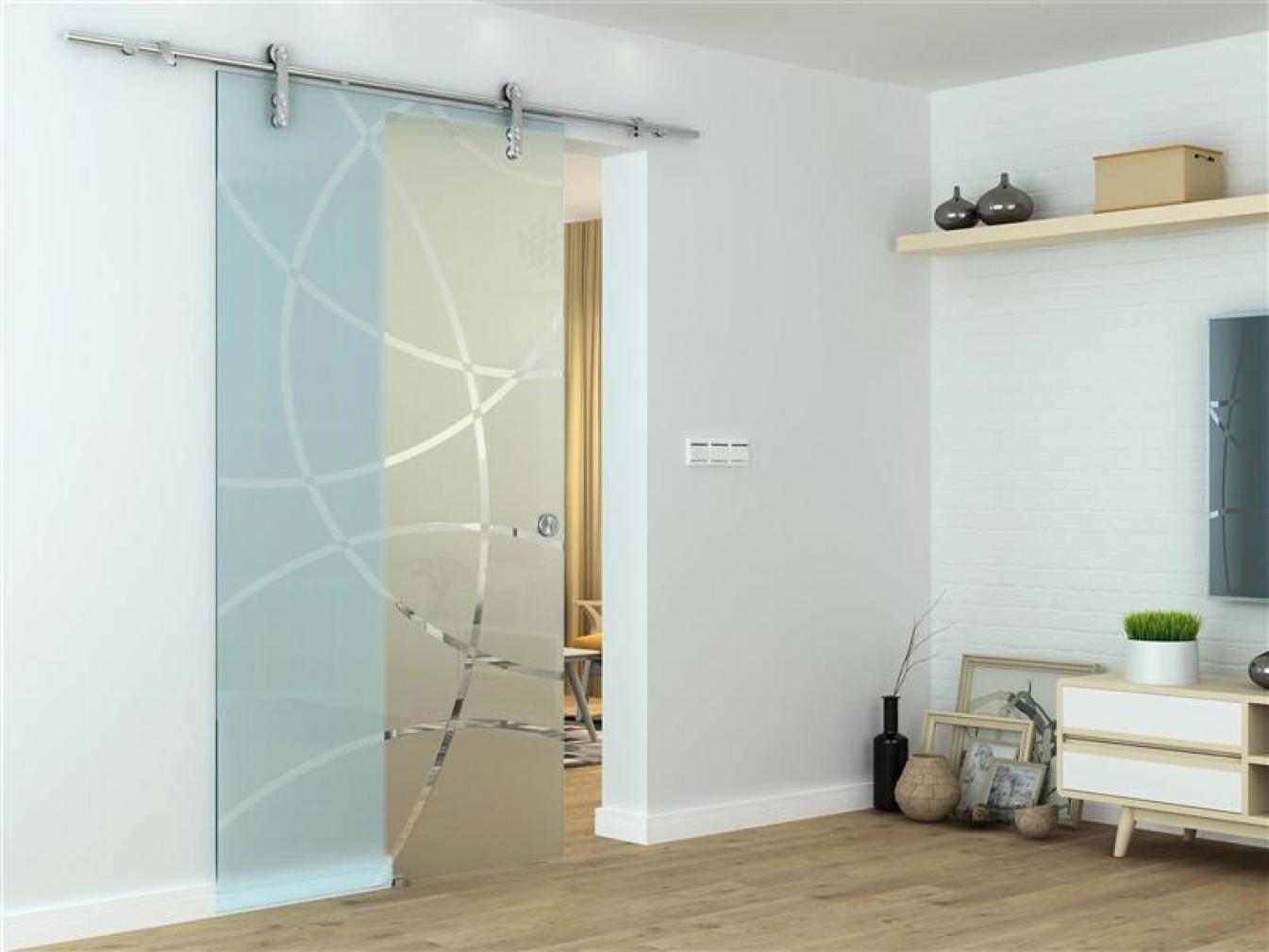 Glastür, Glasschiebetür - Zimmertür mit Griffmuschel, einseitig satiniert, ESG Glas