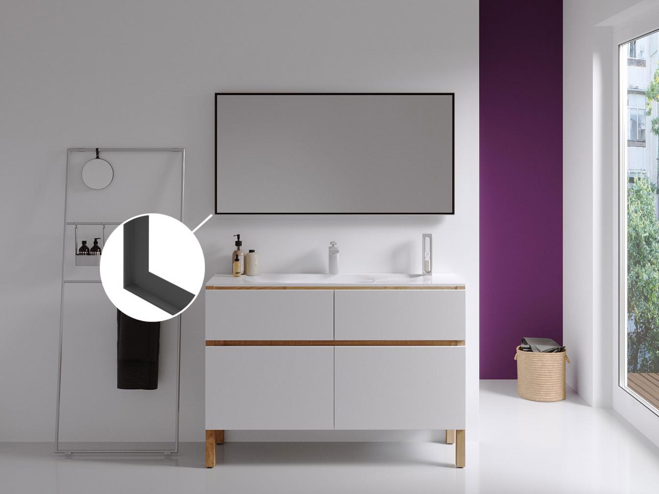 Badspiegel mit Rahmen schwarz 1,78 cm