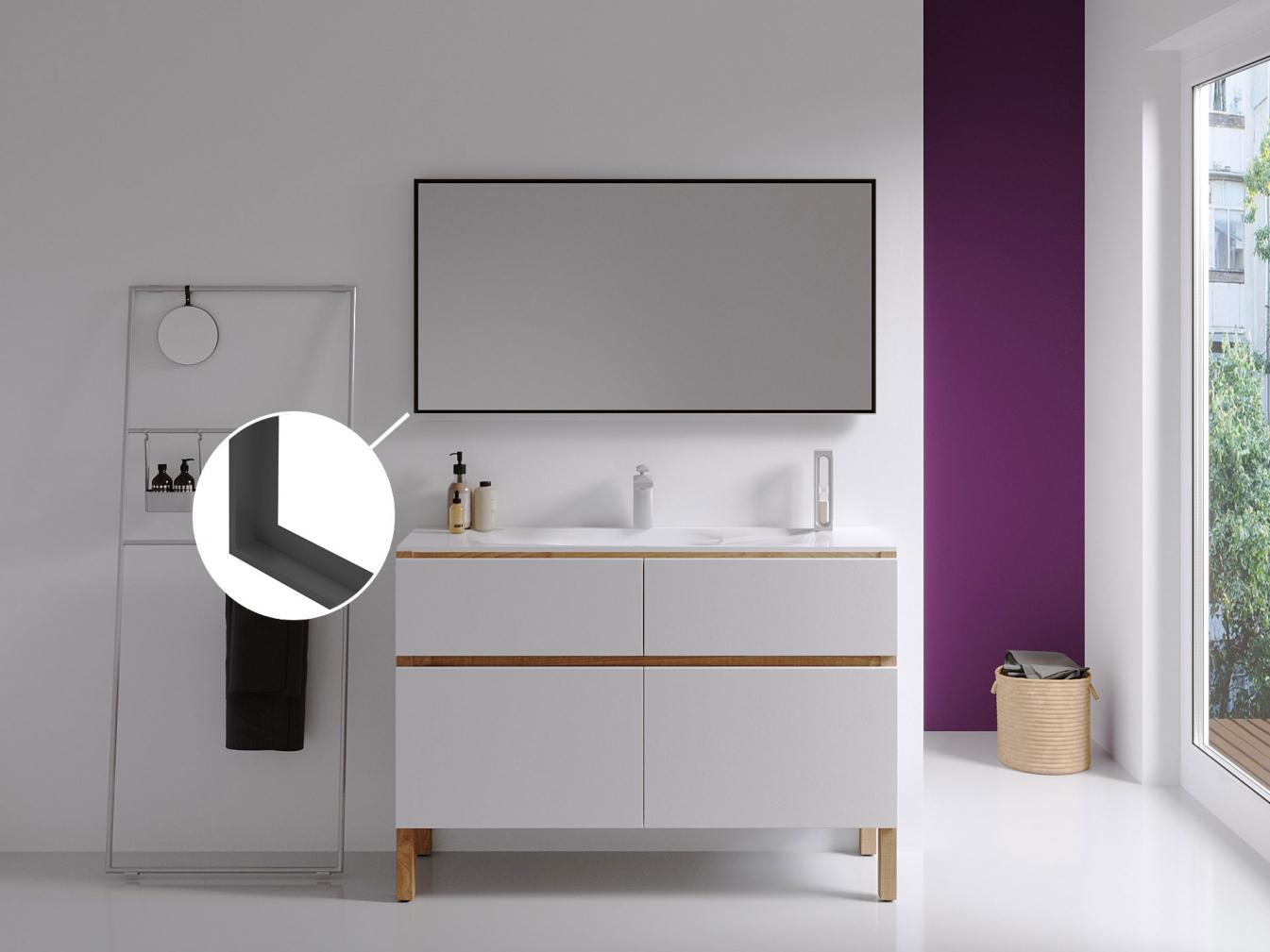 Badspiegel mit Rahmen schwarz 3cm