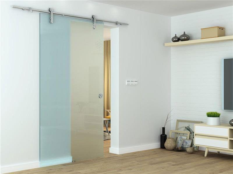 Glasschiebetür - Zimmertür mit Griffmuschel, einseitig satiniert, ESG Glas